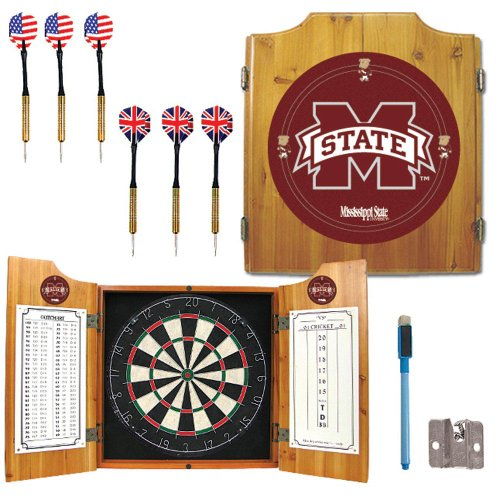 NCAA Mississippi State University Wood Dart Cabinet Set (Bulldog Dart Board compare prices)