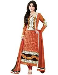 Exotic India Orange Choodidaar Suit With Ari Embroidered Bootis And Pat - Orange