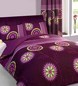 Aubergine King Size Duvet Set With Matching Curtains 66 X 72 Sheet Kitchen Home