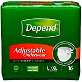 Depend Adjustable (Refastenable) Underwear Size Large/Extra Large (XL) Case/64 (4 bags of 16)