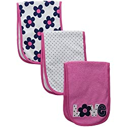 Gerber Baby Girls' 3 Pack Terry Burp Cloths, Love, One Size
