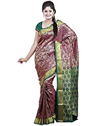 Mimosa Women's Traditional Art Silk Saree Kanjivaram Style, Color :Rani(3252-N7-RANI)
