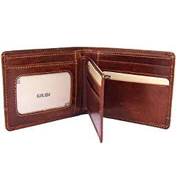 SOLDO - Men's Italian Leather Passcase Wallet with Removable ID Holder, Brown