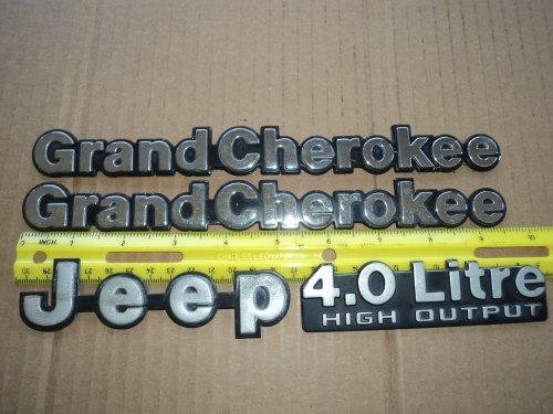 1990'S JEEP GRAND CHEROKEE & 4.0 LITRE HIGH OUTPUT EMBLEM SET 4 PIECES (Cherokee Emblem compare prices)