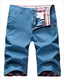 カジュアル 無地 チェック柄 2WAY おしゃれ メンズ ハーフパンツ ポケット付 大きいサイズ 小さいサイズ 紺色 ベージュ オレンジ 青 赤 (スカイブルー, 40)