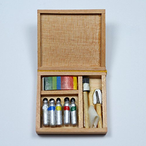 Paintbox Paint Supply Box Pigment Spools Miniature Doll House Accessory Gift