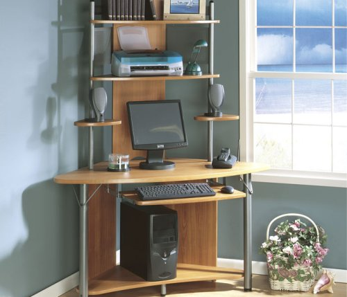Pewter/Pearwood Corner Computer Desk Athena Collection by Sauder Office Furniture - 020660