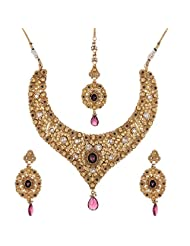 Shahenaz Jewellers 24 Ct Gold Plated Bridal Jewellery Set With Rodolite, Marquis And CZ Stones For Women