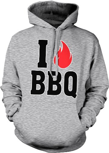 I Love BBQ Hooded Sweatshirt, Funny Grilling I Fire Bar-B-Que Design Hoodie (Light Gray, X-Large)