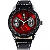 #1 SELLING WINNER Men Elegant Auto Mechanical Wrist Watch Black Leather Strap Tachometer Date Red Dial (Color: Red)
