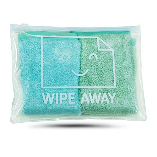 WIPE AWAY - Makeup Remover Cloth (2 pack) in handy Reusable Travel Bag with Face Cleansing Brush (Makeup Remover Wipes Container compare prices)
