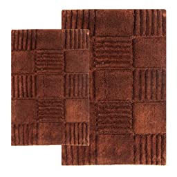 Chesapeake 2-Piece Checkerboard 21-Inch by 34-Inch and 24-Inch by 40-Inch Bath Rug Set, Chocolate