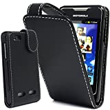 BLACK PU LEATHER FLIP CASE COVER POUCH FOR MOTOROLA MOTOSMART / MOTOLUXE / XT389 / XT390 by Top Accessories for Smart Phones