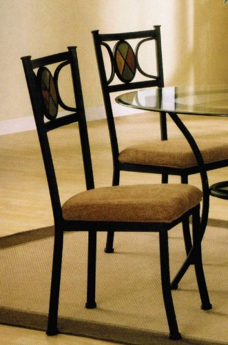 Set of 4 Dining Chairs with Slate Inlaid