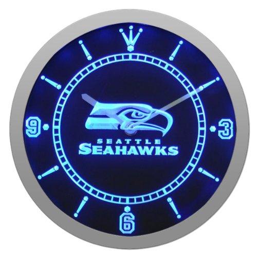 Seattle Seahawks Football Neon Sign Bar Wall Clock