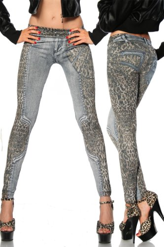 Cindio sexy fashion Stretch Hose Damen Leggings in Jeans-Optik und Leo-Print