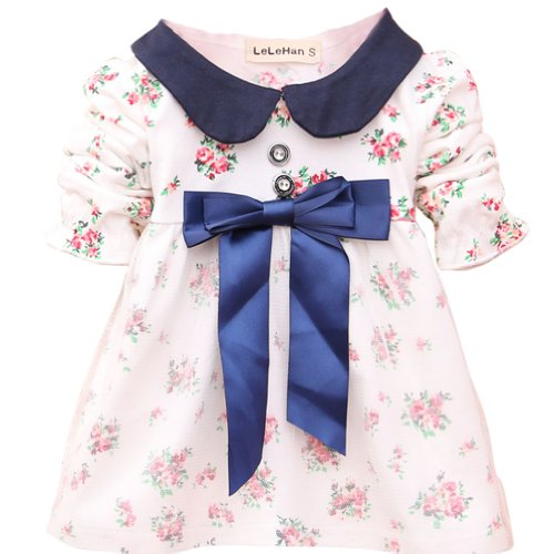 Cm-Cg Baby Girls' Mini Floral Bowknot Banded Waist Mesh Dresses 3-15 Months