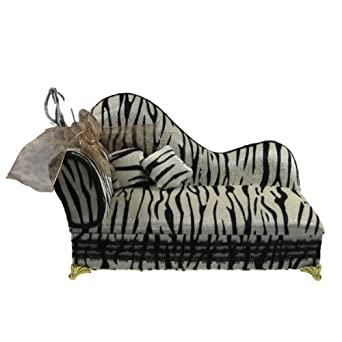 Chaise lounge jewelry box black white zebra for Chaise jewelry box