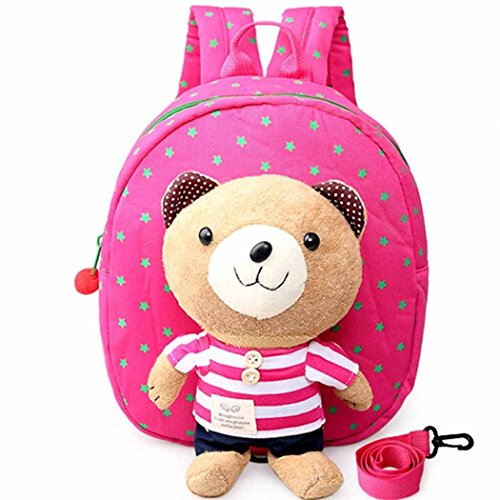 buy Famoby Cute bear Toddler Safety Harness Baby Backpack (1Rose Red stripes) for sale