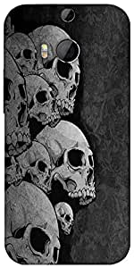 Snoogg Dark Skull Death Designer Protective Back Case Cover For HTC M8