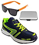 Spot On Men's Navy Green Running Shoes With Lotto Sunglasses And Cardholder Combo UK-9