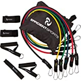 Efficient Sports Resistance Band Workout Set with Door Anchor, 2 Handles, 2 Ankle Straps and Carrying Case with BONUS Product and Workout Guide eBook