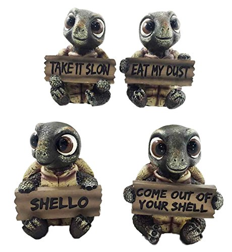 whimsical-cute-sea-turtles-set-of-four-figurine-holding-signs-with-funny-sayings