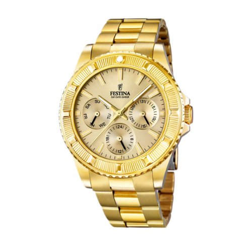 Festina Unisex Quartz Watch with Gold Dial Analogue Display and Gold Stainless Steel Bracelet F16693/2