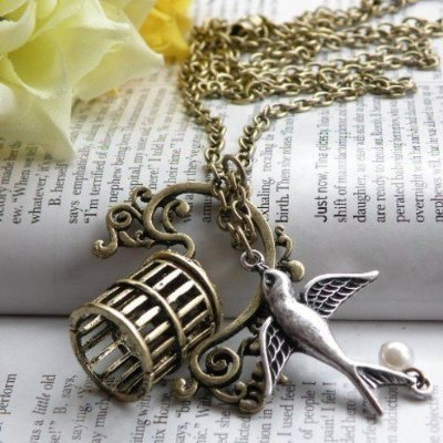 Vintage Jewelry - Vintage Victorian Set Me Free Swallow & Birdcage Antique Bronze Necklace - Boxed & Gift Wrapped