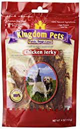 Kingdom Pets Premium Dog Treats, 4-Ounce Bags Chicken Jerky (Pack of 6)