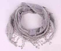 Julycoffee Light Gray (192CM) Tassels Flower Shawl & Triangular Scarf SJ0969