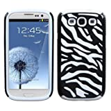 EFuture(TM) White/Black Stylish Zebra Combo PC and Silicone Hybrid Case Cover Fit for the Samsung Galaxy S3 i9300 +eFuture's nice Keyring