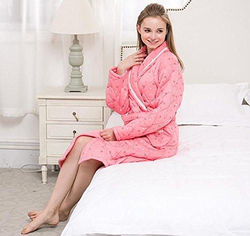 Home Veste di cotone femmina lunga Sleepwear Robe cappotto trapuntato , 2 , xl