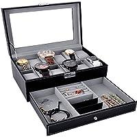 Coxeer X140147XJYR4151 12 Slot Lockable Black Leather Watch Jewelry Box