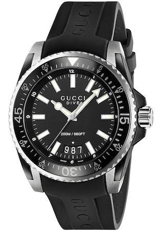 R.GUCCI DIVE XL NEG.AC Y PVD CAUCHO relojes hombre YA136204
