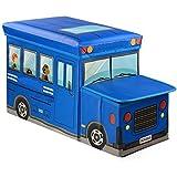 Diswa Foldable Storage Stool School Bus Design Fold Storage Box Multifunction Storage Case Non-woven Foldable...