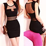 Sexy Womens Lace High Waist Sleeveless See-through Party Dress Pencil Skirt NEW