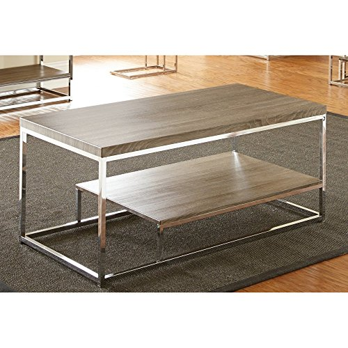 Steve Silver Steve Silver Lucia Cocktail Table - Dark Driftwood Gray, Silver, Wood