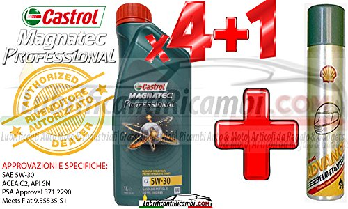 Olio-Motore-Auto-Castrol-Magnatec-Professional-5w30-C2-Fully-Synthetic-per-motori-benzinaDiesel-4-litri-1-Bomboletta-Shell-Advance-Helmet-Visor-Spray-Pulitore-casco-Finestrini-auto-piastrelle-specchi-