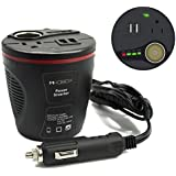 Mikobox 150W Car Cup Power Inverter Dual 110V AC Outlets and Dual USB Charging Ports(2.4A) with Car Cigarette Lighter Socket, Intelligent Car Battery Voltage Detection-Black