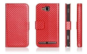 DONZO Wallet Carbon Tasche für Samsung ATIV S I8750 Rot