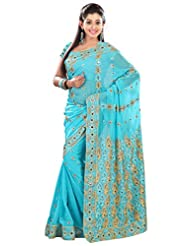 Designer Astounding Blue Colored Embroidered Faux Georgette Saree By Triveni