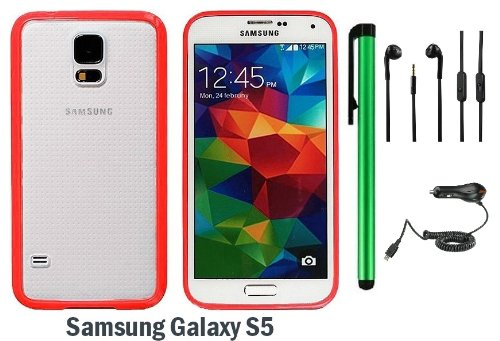 Samsung Galaxy S5 Premium Transparent Clear Composite Material Back Cover Case (2014 March Released; Carrier: Verizon, At&T, T-Mobile, Sprint) + Car Charger + 3.5Mm Stereo Earphones + 1 Of New Assorted Color Metal Stylus Touch Screen Pen (Red Tpu Border W