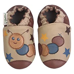 Momo Baby Infant/Toddler Caterpillar Taupe Soft Sole Leather Shoes - 18-24 Months/6-7 M US Toddler