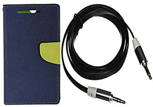 Novo Style Wallet Case Cover For SonyXperiaZ2 Blue + 3 feet Slim 3.5mm Music Record Stereo Audio Auxiliary AUX Cable Cord