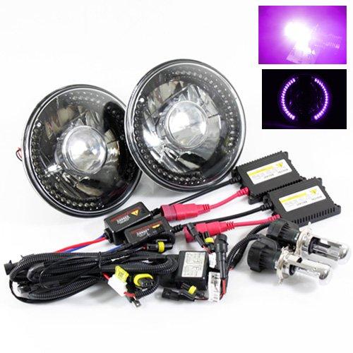 "12000K Purple Bi-Xenon Slim Hid/7"" Round 6014/6015/6024 Black Crystal Projector Headlights With Purple Led Ring"