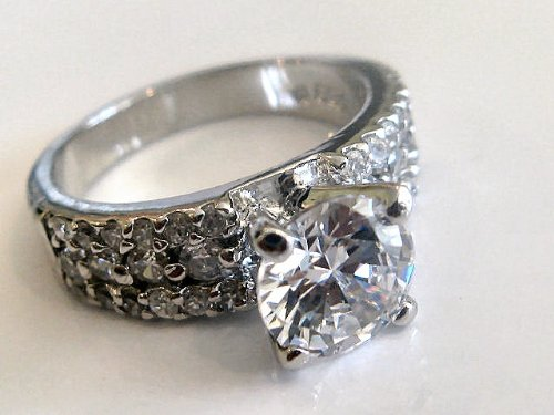 Sterling Silver CZ Wedding Engagement Solitaire Ring Size-7