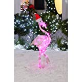 36-Inch Crystal Starry Night Flamingo Christmas Decor - 30 LED Twinkling Lights