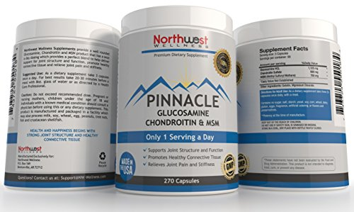 PINNACLE 1,125 mg Glucosamine HCL, 900 mg Chondroitin Sulfate, 750 mg MSM Supplement - 1 Serving A Day - Extra Strength - Best For Maximum Mobility & Pain Relief of Joints in Knee, Shoulder & Hip - 270 Small Capsules - 3 Month Supply - Empty Bottle Guarantee (Msm 900 compare prices)
