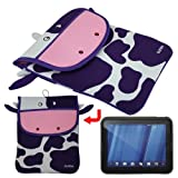 Premium Coco the Cow Memory Foam Case(10.1 inch)+Skque Smoke Silicone Skin Case Cover-Protector Skin for HP Touch Pad 9.7 Tablet